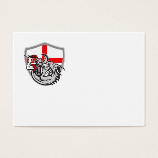 English Knight Fighting Dragon England Flag Shield Business Card