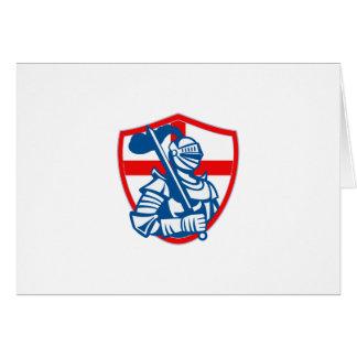 English Knight Hold Sword England Shield Flag Retr Greeting Card