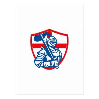 English Knight Hold Sword England Shield Flag Retr Postcard