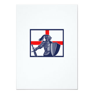 English Knight Holding Sword England Flag Retro Announcements