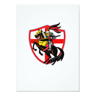 English Knight Lance England Flag Shield Retro 11 Cm X 16 Cm Invitation Card