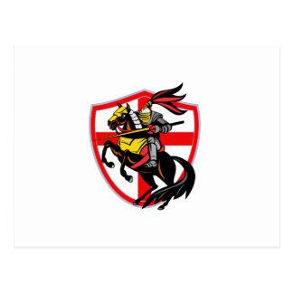 English Knight Lance England Flag Shield Retro Postcard