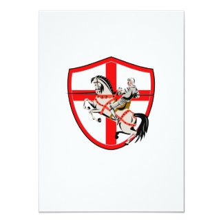English Knight Rider Horse England Flag Retro 11 Cm X 16 Cm Invitation Card