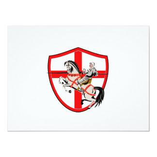 English Knight Rider Horse England Flag Retro 17 Cm X 22 Cm Invitation Card