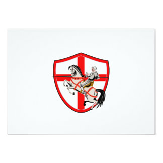 English Knight Rider Horse England Flag Retro 13 Cm X 18 Cm Invitation Card
