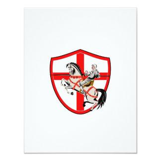 English Knight Rider Horse England Flag Retro 11 Cm X 14 Cm Invitation Card