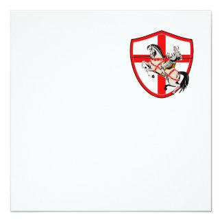 English Knight Rider Horse England Flag Retro 13 Cm X 13 Cm Square Invitation Card