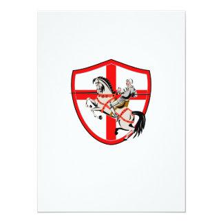 English Knight Rider Horse England Flag Retro 14 Cm X 19 Cm Invitation Card