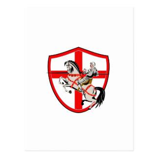 English Knight Rider Horse England Flag Retro Postcard