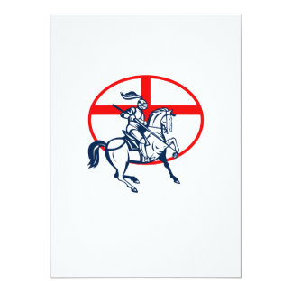 English Knight Riding Horse England Flag Circle Re Personalised Announcement