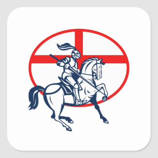 English Knight Riding Horse England Flag Circle Re Square Sticker