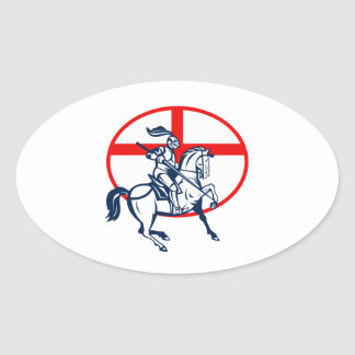 English Knight Riding Horse England Flag Circle Re Oval Sticker