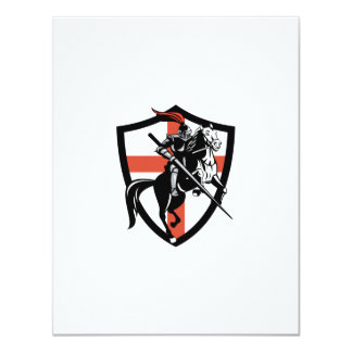 English Knight Riding Horse England Flag Retro 11 Cm X 14 Cm Invitation Card