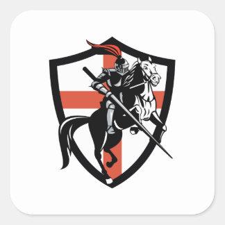 English Knight Riding Horse England Flag Retro Square Sticker