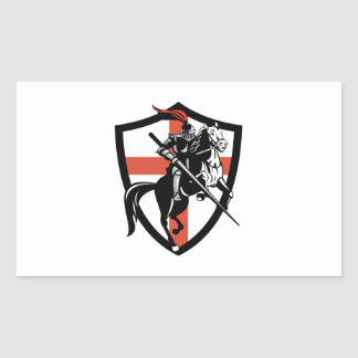 English Knight Riding Horse England Flag Retro Rectangle Stickers