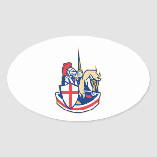 English Knight Riding Horse England Flag Retro Oval Sticker