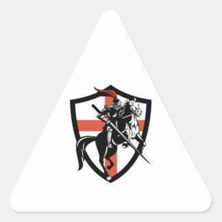 English Knight Riding Horse England Flag Retro Triangle Stickers