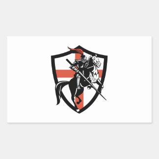 English Knight Riding Horse England Flag Retro Sticker