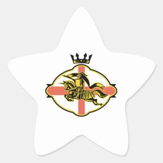 English Knight Riding Horse Lance Retro Star Sticker