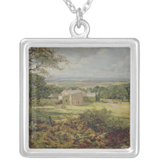 English landscape with a house, 19th century silver plated necklace