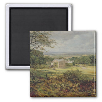 English landscape with a house, 19th century square magnet