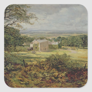 English landscape with a house, 19th century square sticker