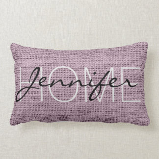 English lavender Burlap Rustic Monogram Lumbar Cushion