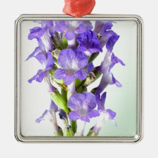 English Lavender Flower Photo Silver-Colored Square Decoration