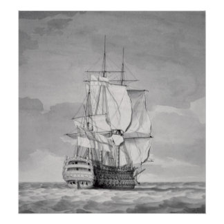 English Line-of-Battle Ship, 18th century Poster