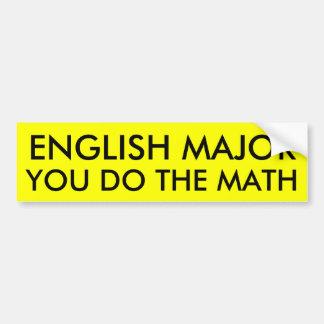 ENGLISH MAJOR BUMPER STICKER