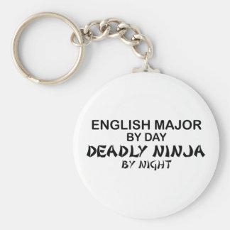 English Major Deadly Ninja Basic Round Button Key Ring