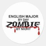 English Major Zombie Round Sticker