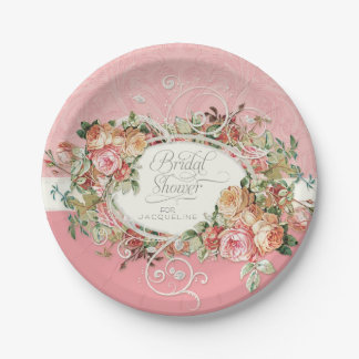 English Manor Vintage Antique Roses Floral Bouquet 7 Inch Paper Plate