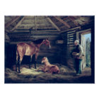 English Mare With Her Foals, 1833 Poster