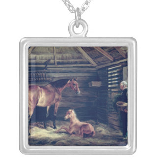 English Mare With Her Foals, 1833 Silver Plated Necklace