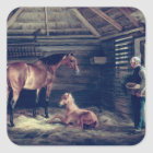 English Mare With Her Foals, 1833 Square Sticker