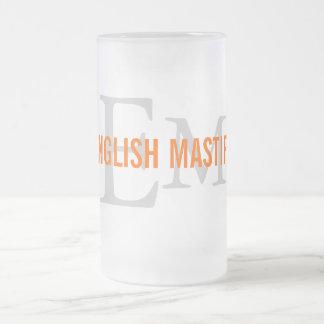 English Mastiff Breed Monogram Design Frosted Glass Mug