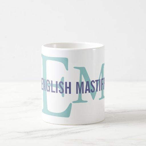 English Mastiff Breed Monogram Design Coffee Mugs