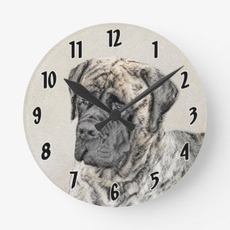 English Mastiff (Brindle) Round Clock