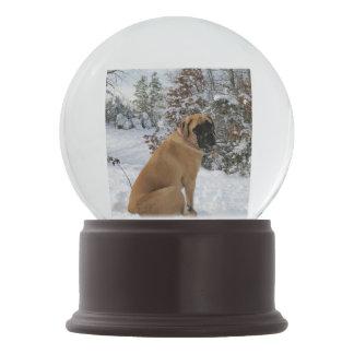 English Mastiff dog in Snowy Winter Wonderland Snow Globe