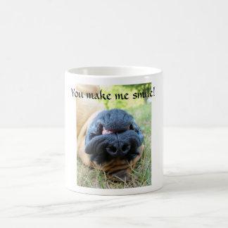 English Mastiff dog smiling - cup
