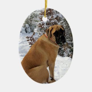 "English Mastiff dog ""Snow Pose"" photo Christmas Ornament"