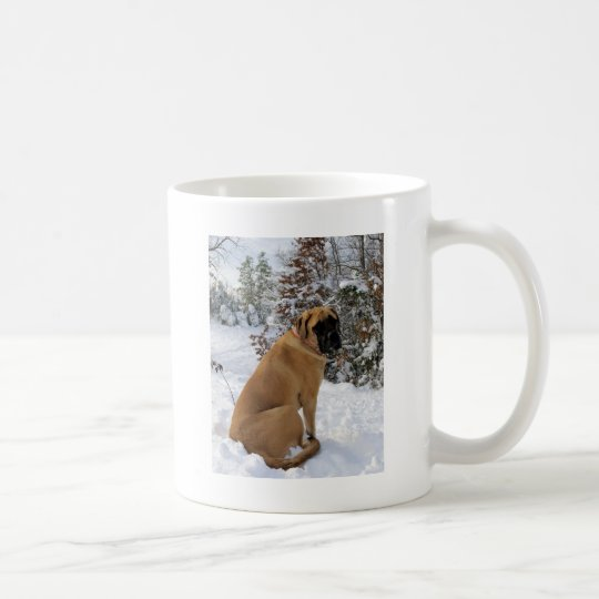"English Mastiff dog ""Snow Pose"" photo Coffee Mug"