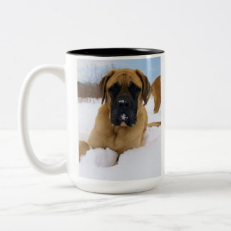 English Mastiff in the Snow mug