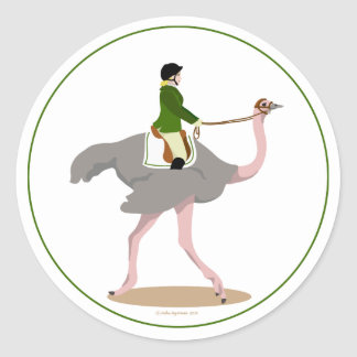 English Ostrich Round Sticker