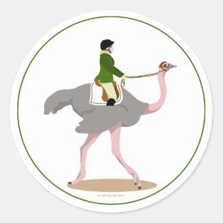 English Ostrich Round Stickers