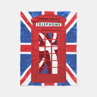 English Phone Booth, Union Jack Fleece Blanket