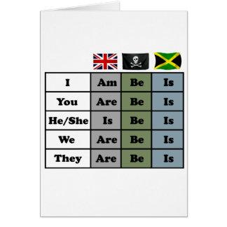 english  - pirate - jamaica grammar chart card
