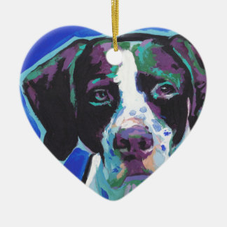 English Pointer Bright Colorful Pop Dog Art Ceramic Heart Decoration