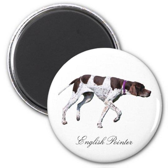 English Pointer dog beautiful photo, gift 6 Cm Round Magnet
